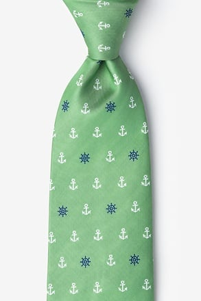 _Anchors & Ships Wheels Green Extra Long Tie_