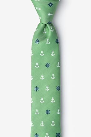 Anchors & Ships Wheels Green Skinny Tie