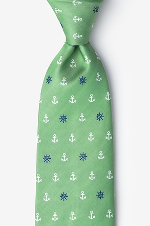 _Anchors & Ships Wheels Green Tie_