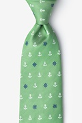 Green Microfiber Anchors & Ships Wheels Extra Long Tie