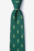 Green Microfiber Christmas Cacti Extra Long Tie