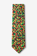 Christmas Kaleidoscope Triangles Green Extra Long Tie Photo (1)