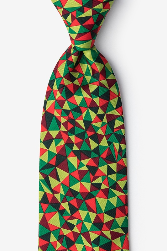 Christmas Kaleidoscope Triangles Green Extra Long Tie Photo (0)