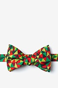 Green Microfiber Christmas Kaleidoscope Triangles Self-Tie Bow Tie