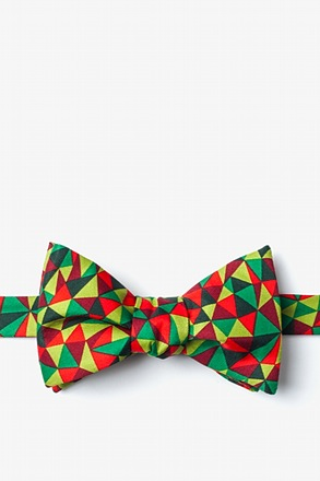 _Christmas Kaleidoscope Triangles Green Self-Tie Bow Tie_