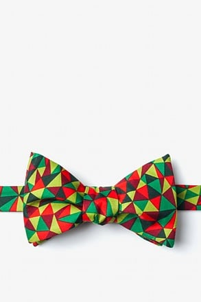 Christmas Kaleidoscope Triangles Green Self-Tie Bow Tie