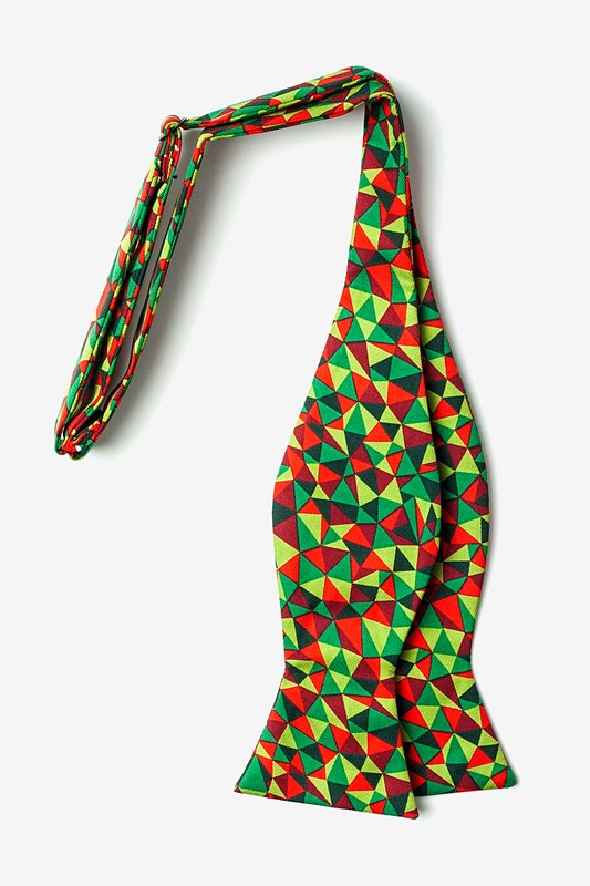 Christmas Kaleidoscope Triangles Green Self-Tie Bow Tie Photo (1)