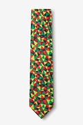 Christmas Kaleidoscope Triangles Green Skinny Tie Photo (1)