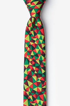 _Christmas Kaleidoscope Triangles Green Skinny Tie_