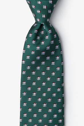 _Christmas Skulls Green Extra Long Tie_