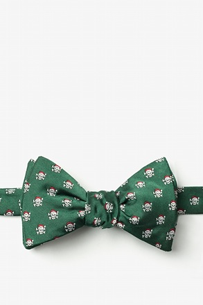 Christmas Skulls Green Self-Tie Bow Tie