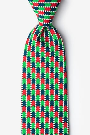 _Christmas Tree Abstract Green Extra Long Tie_