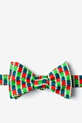 Green Microfiber Christmas Tree Abstract Self-Tie Bow Tie