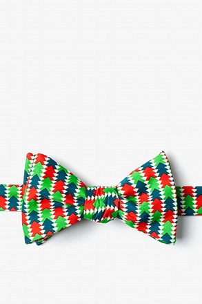 _Christmas Tree Abstract Green Self-Tie Bow Tie_