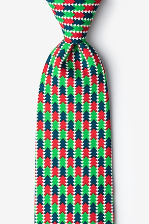 _Christmas Tree Abstract Green Tie_