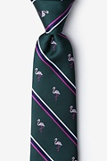 Green Microfiber Flamingo Stripe Tie
