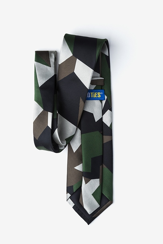 Geometric Camo Green Extra Long Tie Photo (1)