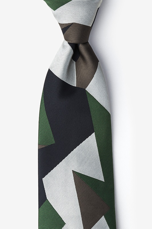 Geometric Camo Green Extra Long Tie Photo (0)