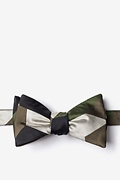 Green Microfiber Geometric Camo Self-Tie Bow Tie