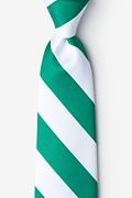 Green Microfiber Green & White Stripe Extra Long Tie