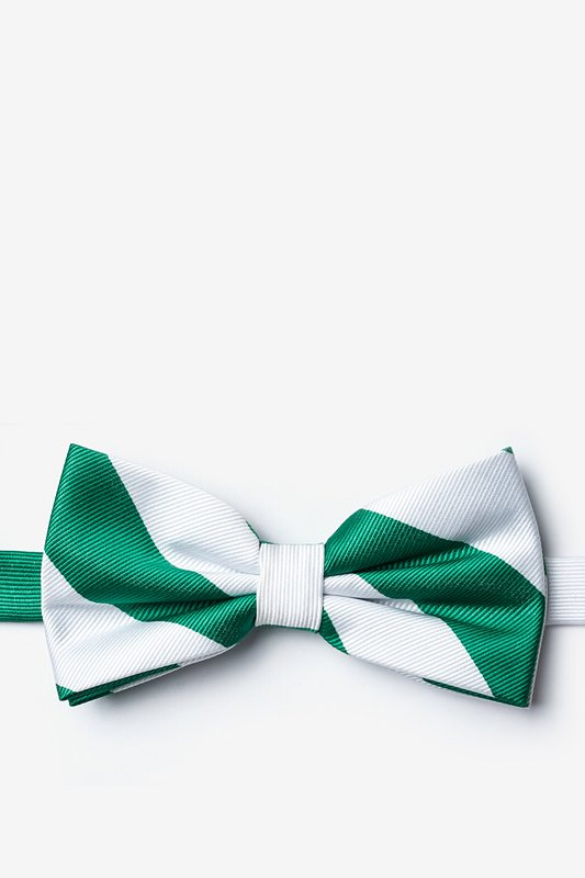 Green & White Stripe Pre-Tied Bow Tie Photo (0)
