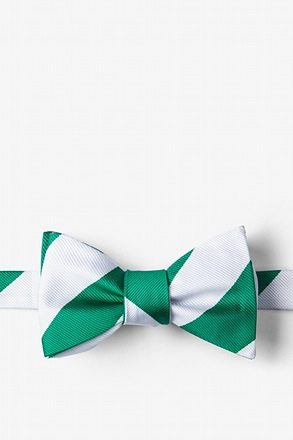 Green & White Stripe Self-Tie Bow Tie
