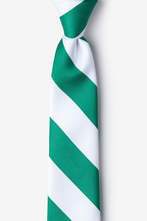 _Green & White Stripe Skinny Tie_