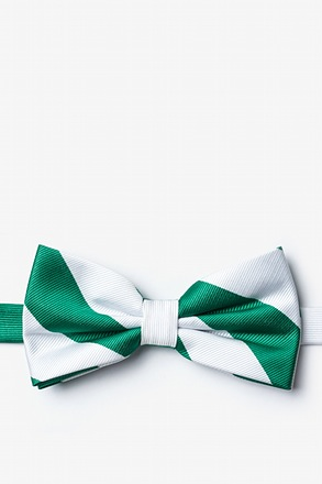 Green And White Pre-Tied Bow Tie