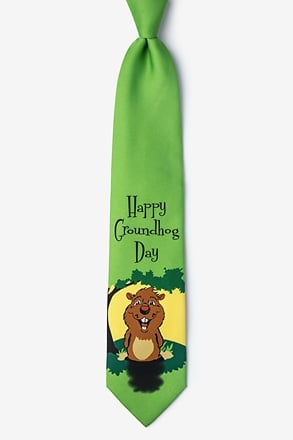 _Happy Groundhog Day Green Tie_