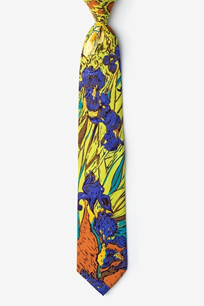 Irises - Van Gogh Green Extra Long Tie