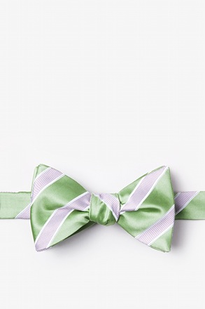 _Jefferson Stripe Green Self-Tie Bow Tie_