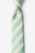 Green Microfiber Jefferson Stripe Skinny Tie