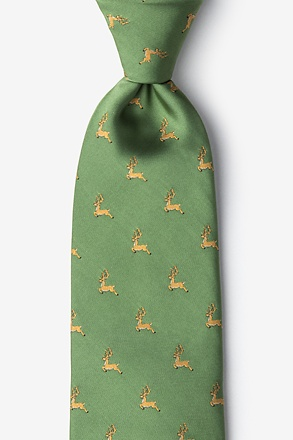 _Jumping Reindeer Green Extra Long Tie_