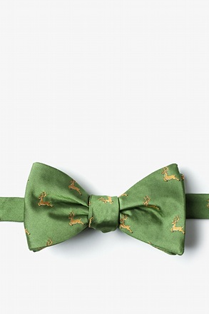 _Jumping Reindeer Green Self-Tie Bow Tie_
