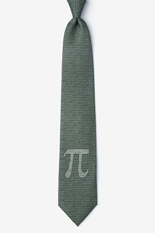 Pi to the 50th Decimal Green Extra Long Tie Photo (0)