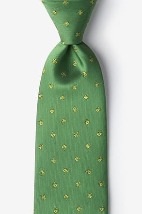 _Shamrocks Green Extra Long Tie_