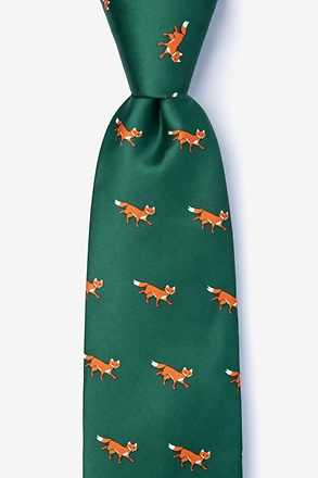 _Sneaky Foxes Green Tie_