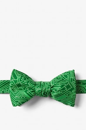 The Circuit Board Green Self-Tie Bow Tie