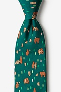 Green Silk Bear Necessities Extra Long Tie