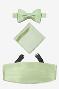 Green Silk Celedon Green Self Tie Bow Tie Cummerbund Set