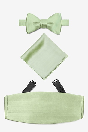 _Celedon Green Self Tie Bow Tie Cummerbund Set_