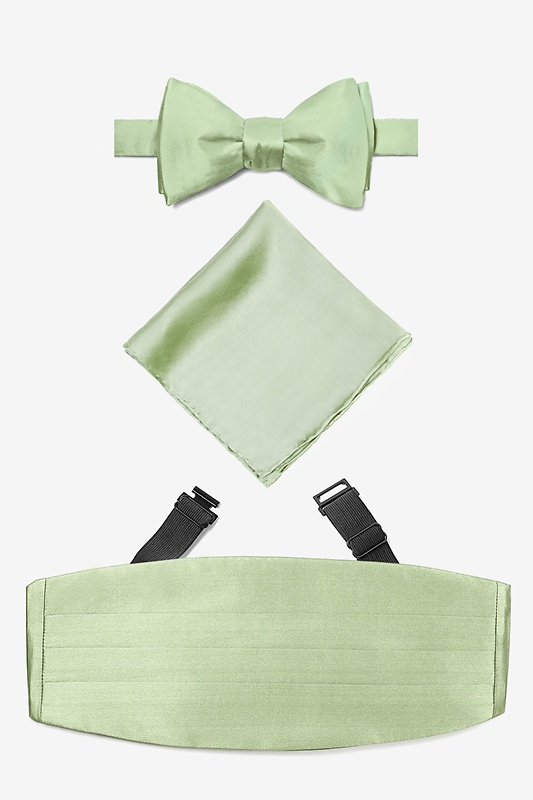 Celedon Green Self Tie Bow Tie Cummerbund Set Photo (0)