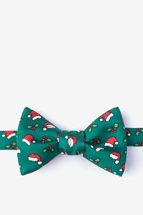 _Christmas Caps Green Self-Tie Bow Tie_