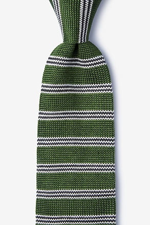 _French Stripe Green Knit Tie_