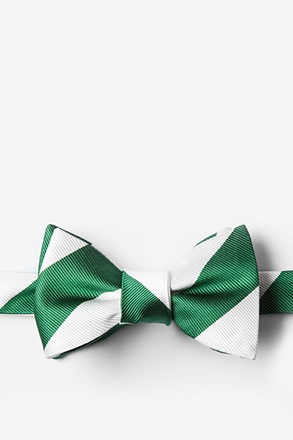 Green and White Stripe Bow Tie
