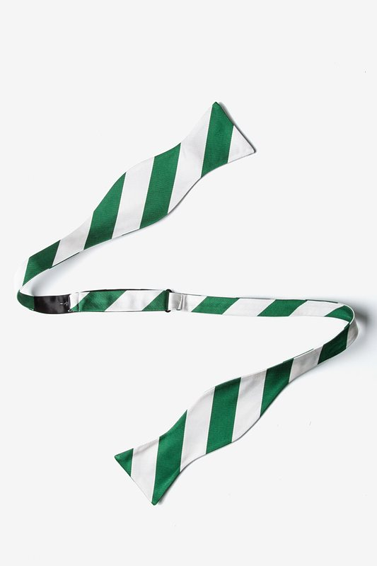 Green And White Stripe Butterfly Bow Tie