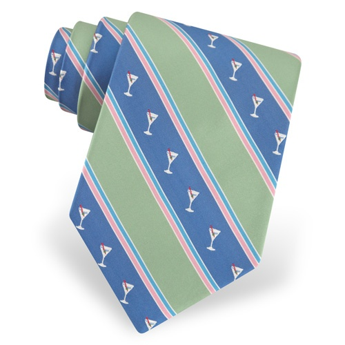Martini Glasses Stripe Tie by Alynn Novelty