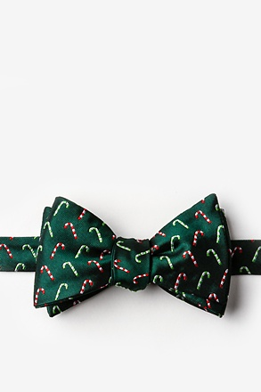 _Peppermint Print Green Self-Tie Bow Tie_