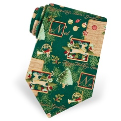 Green Silk Season's Greetings Tie