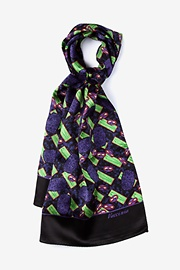 Green Silk Vaccinia Oblong Scarf